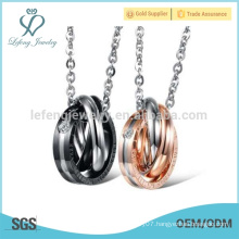 Meaningful couple rings pendant necklace