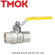 válvula de bola del gas de la manija larga del alambre interno de cobre amarillo
