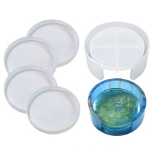 crafts making DIY 3D cup pads silicone tray mould set square round epoxy resin coaster mold