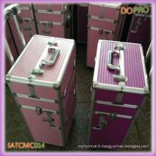 Purple Travel Cosmetic Rolling Case avec roues universelles (SATCMC014)