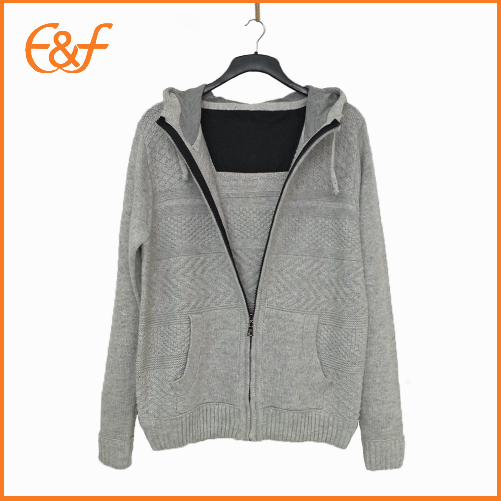 Men hooded sweater with zipper