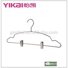 Wholesale rust-proof chrome plated shirt hanger with clips in qntique finishing