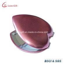 Coração forma bolso compacto espelho cosmético para menina