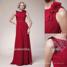 Red Scoop Beading Beads Dobrada Cintura Sweep Train Mãe Do Vestido De Noiva