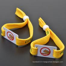 Billet de qualité RFID personnalisé pour fête de festival, Bracelet en polyester poli RFID