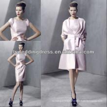 HC2263 The modest light pink short sleeve satin long sleeve jacket knee length short zipper back two pieces evening dress