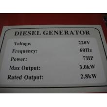 3kw generador diesel refrigerado por aire monofásico