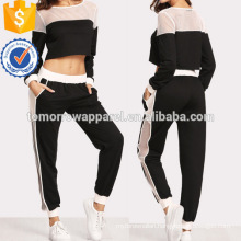 Fishnet Insert Sweatshirt And Pants Set Manufacture Wholesale Fashion Women Apparel (TA4092SS)