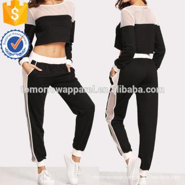Fishnet Insert Sweatshirt And Pants Set Manufacture Wholesale Fashion Women Apparel (TA4092SS)