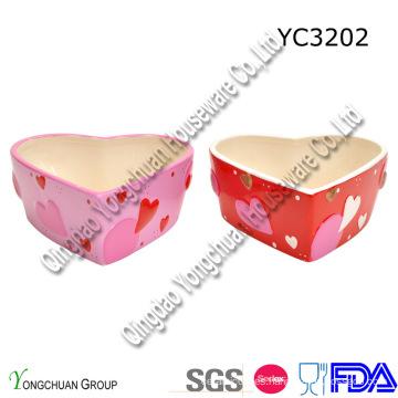Cerámica en forma de corazón Candy Bowl Set Promoción