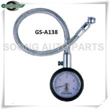 Dial tipo medidor de presión de neumáticos con manguera flexible de metal y válvula de liberación de aire