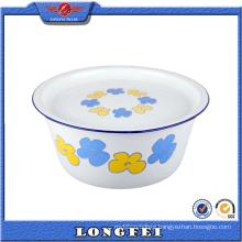 Various Decal Enamel Hand Washing Bowl with Enamel Cover