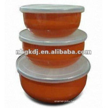 enamel storage mixing bowl with SS rim & PP lid