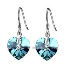 Fashion Sea Blue Crystal Heart Shaped Earrings For Women SE-001D