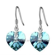 Moda mar azul cristal em forma de coração brincos para mulheres SE-001D
