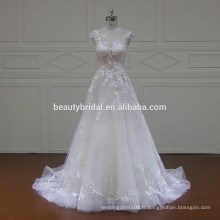 XF16067 robe à rayures ronde en illusion robe de mariée 2017 robes de mariée