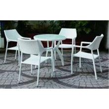 Garten-Rattan-Weidenspeisetisch und Stuhl im Freien