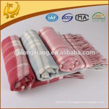Estilo clásico de la tela escocesa Mongolia China Manta de la manta Supersoft 100% tela de lana merina de la tela cruzada, tirador de las lanas