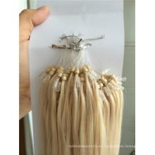 Pelo humano europeo ombre tres tonos de seda recta micro anillo de extensiones de cabello precio al por mayor
