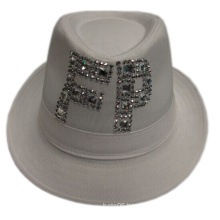 Discount Women Fedora Hat with Band and Crystal Logo