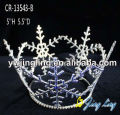 Full Round Blue Rhinestone Snowflake Christmas Pageant Crown