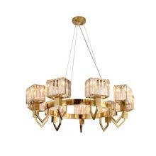 Big Villa Floating Pendant Modern Ring Luxury Decorative Metal Crystal Chandelier