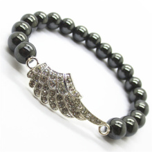 Hematite 8MM Round Beads Stretch Gemstone Bracelet with Diamante alloy Wing Piece