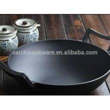Wok chino de hierro fundido con fondo plano, pre-sazonado