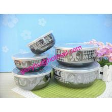 tazón de porcelana con tapa de pp y calcomanía