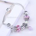 2017 OEM argent perles emoji bracelet avec pendentif coeur pour les femmes, bricolage charme bracelet accessoire bijoux