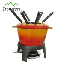 cast iron enamel cheese fondue pot/ cast iron cheese fondue set