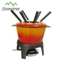pote de fondue de queijo de ferro fundido esmaltado / conjunto de fondue de queijo de ferro fundido