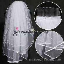 Beste Preise elegant 2 Schichten China Manufacturing Hochzeit Brautschleier