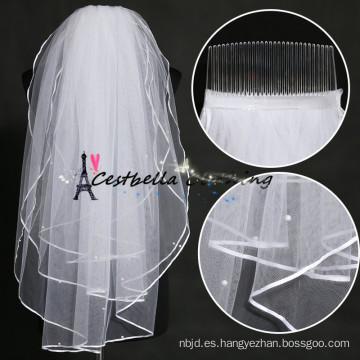 Los mejores precios elegante 2 capas de China Fabricación velo nupcial de la boda