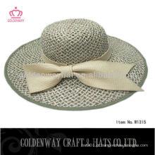 Senhoras chapéu de palha tecido chapéu de bascula de margem larga