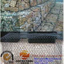 Contrôle inondation forte PVC enduit reno rock cages hexagonal fil tissé gabion maille barrière mur cages en pierre pour mur de soutènement