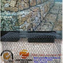 Контроль сильный паводок ПВХ покрытием Рино-рок-клеток гексагональной проволочной сетки gabion барьера стены каменной клетки для сохраняя стены