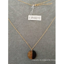Schwarz und Gold Halbkreis Anhänger Halskette