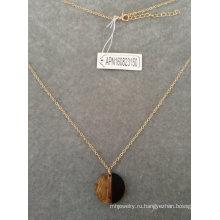Черный и золотой полу круг кулон ожерелье