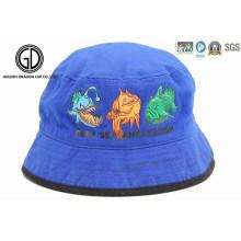 El casquillo 100% de la historieta de la buena calidad del algodón embroma el sombrero del cubo de los niños