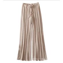 Leggings tricotés pour femmes 100% pantalons en cachemire avec ceinture