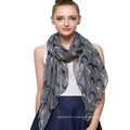Always hot Selling whosale fashion basic screening printed grey color animal dog Polyester Voile 100% polyester silk feel scarf