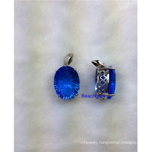 Jewellery-Blue Quartz Sterling Silver Pendant (P1340)