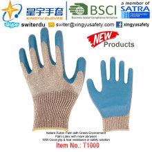 (Produtos de Patente) Luvas de revestimento verde com revestimento de látex T1000