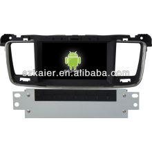 Leitor de DVD do carro do sistema de Android para Peugeot 508 com GPS, Bluetooth, 3G, iPod, jogos, zona dupla, controle de volante