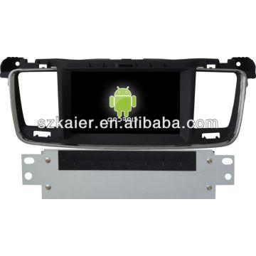 Android System lecteur dvd voiture pour Peugeot 508 avec GPS, Bluetooth, 3G, ipod, jeux, double zone, contrôle du volant
