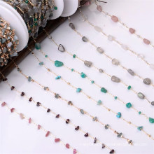 High Quality Gold Plated Customized Brass Sunglasses Chain Natural 4-8mm Gemstone Beads Chains