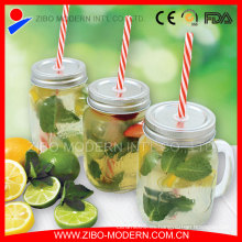 Venta al por mayor 16oz Glass Mason Jars con paja