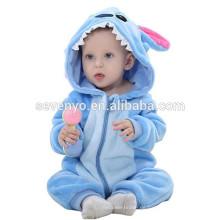 Weiche Baby Flanell Strampler Tier Onesie Pyjama Outfits Anzug, Schlafanzug, süße blaue Tuch, Baby Kapuzentuch