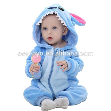 Soft baby Flannel Romper Animal Onesie Pajamas Outfits Suit,sleeping wear,cute blue cloth,baby hooded towel